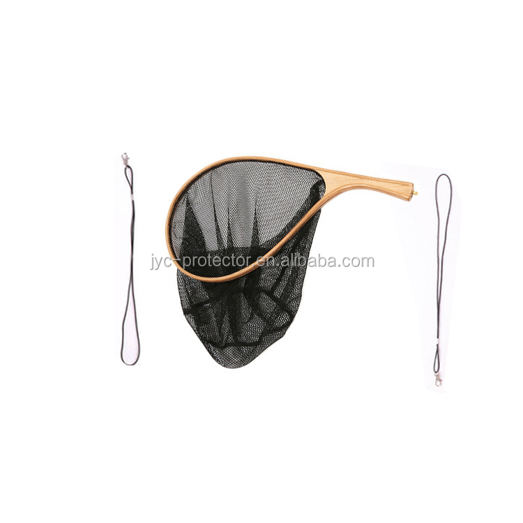 Wooden handle fly fishing nylon landing net
