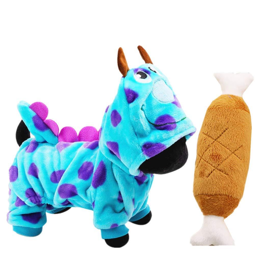 KKING Halloween Pet Costumes Small Dogs Soft Fleece Hoodie Onesie for Small Dog Clothes Jacket Coat Casual Indoor + Squeak Toys