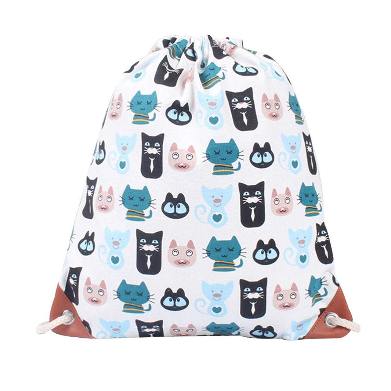 Women Bohemia Printing High Capacity Bucket Backpack Shoulder Bag Drawstring Backpack Shopping Bag Travel Bag Faionny