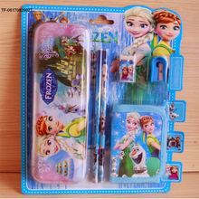cartoon frozen cars princess pencil case pen ruler eraser stationery set
