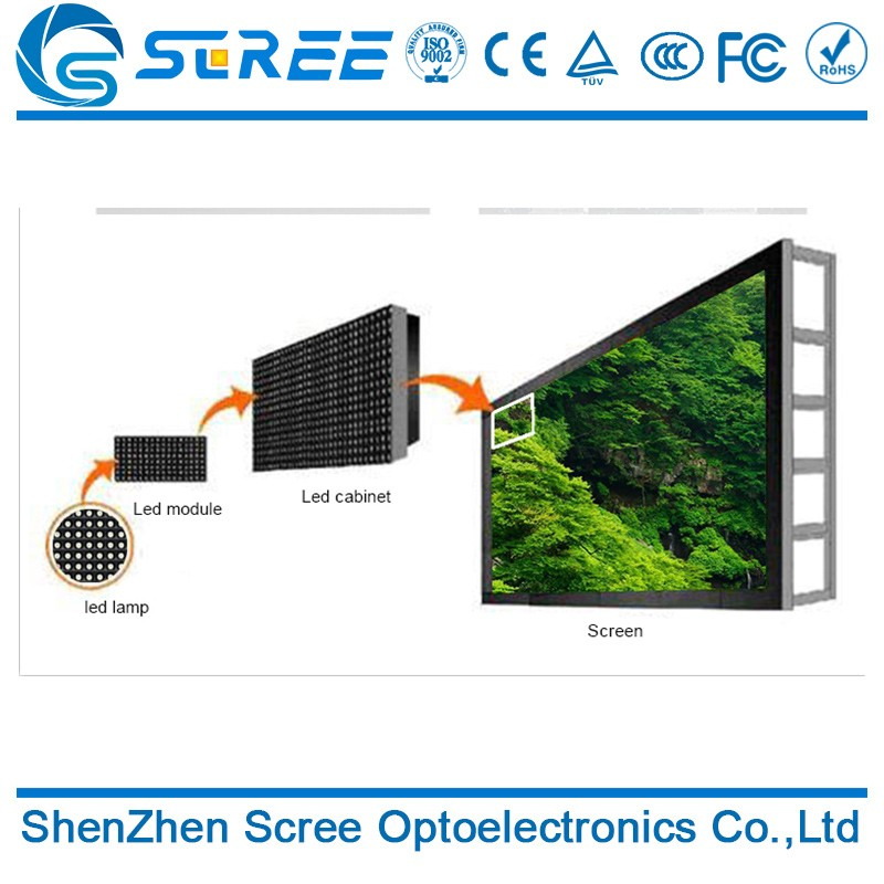 Paper thin rgb smd outdoor p8 led display screen board with SD card support