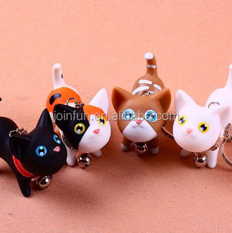 cute cat plastic keychain for promotion gift,Cartoon Cat Shaped 3D Soft pvc Keychain,Cat shape rubber custom made keychains