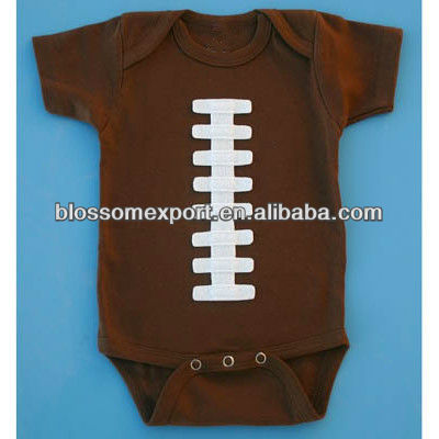 Brown white football printed infant bubble romper design cotton romper ruffle bodysuit for kids
