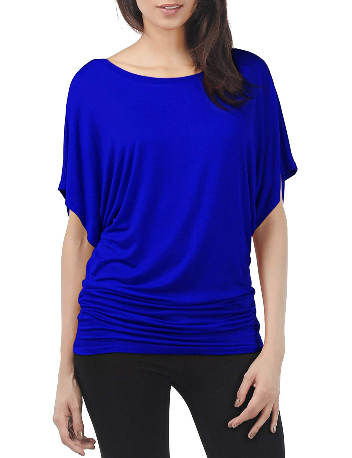 214db1925db Get Quotations · TWINTH Shirring Tunic Top Plus Size Dolman Sleeve Drape  Knit Top Boat Neck Solid