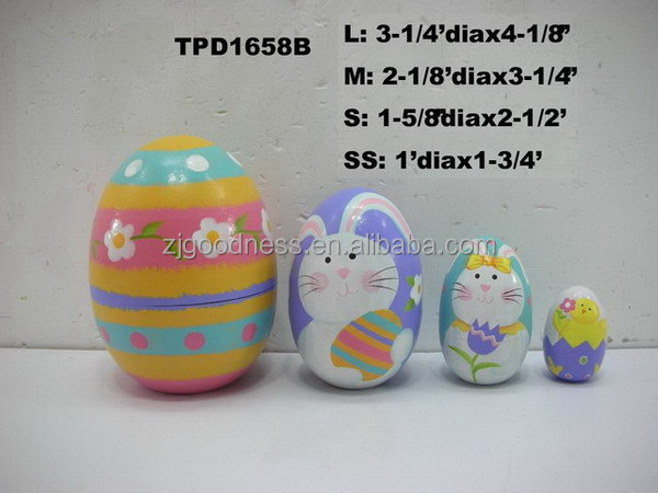 Set 4 Decorative Wood Wooden Spring Painted Easter Egg