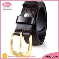Designer Brand Custom Vintage Genuine Leather Men Casual Belt Vegetable Tanned Leather Western Style Floral Pattern Men Belt