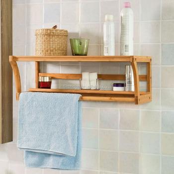 Bamboo Wall Mounted Bathroom Shelf Unit