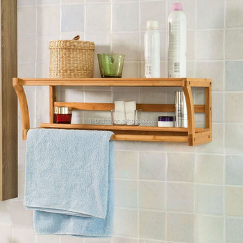 Top Home Solutions Bamboo Wall Mounted Bathroom Shelf Unit Towel Rail Rack Holder