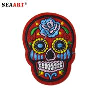 Small Red Skull With Flower On Face Felt Embroidery Patches