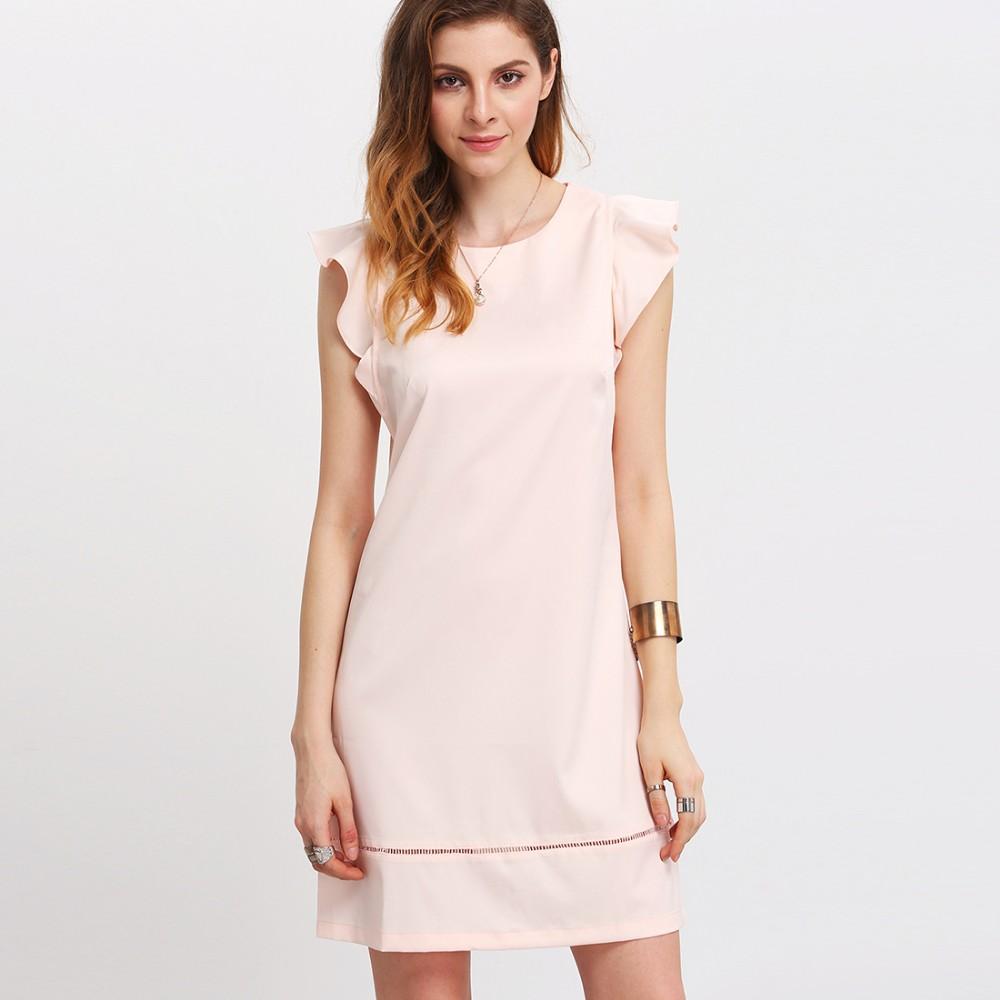 95ce8a4d4 Ecoach moda mujer rosa pétalo manga llana elegante patrones para vestidos  de fiesta corto Vestido corto