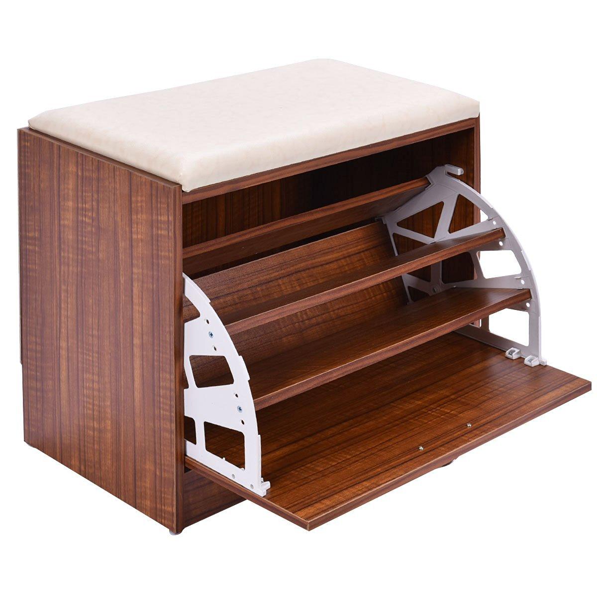 Get Quotations · Giantex Shoe Cabinet Storage Closet Organizer Ottoman  Bench Shelf Entryway W/Handle
