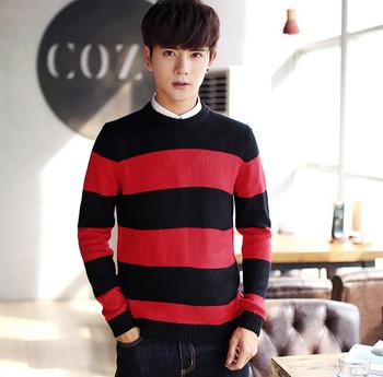 b0e85bafc Men 100% Pure Cotton Crewneck Striped Red Black Pullover Sweater ...