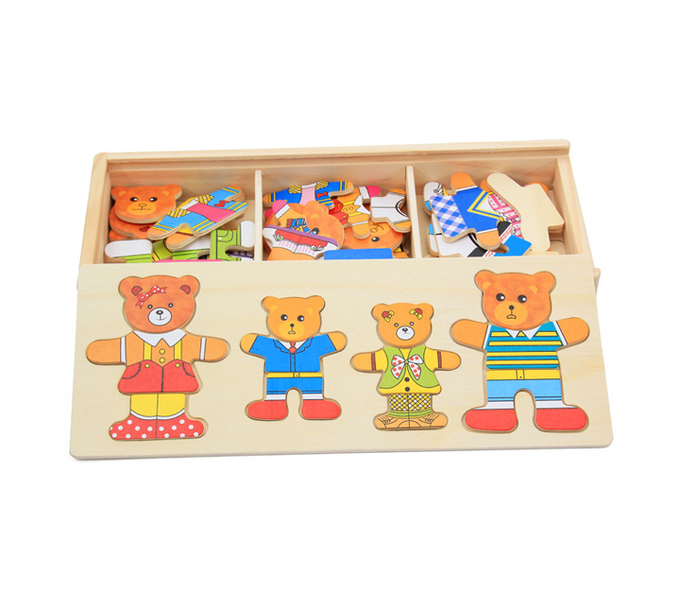 Fashion Kid Toy HY005 Little Bear Family Change Clothes Early Education 4 Bears Change Clothes HY005