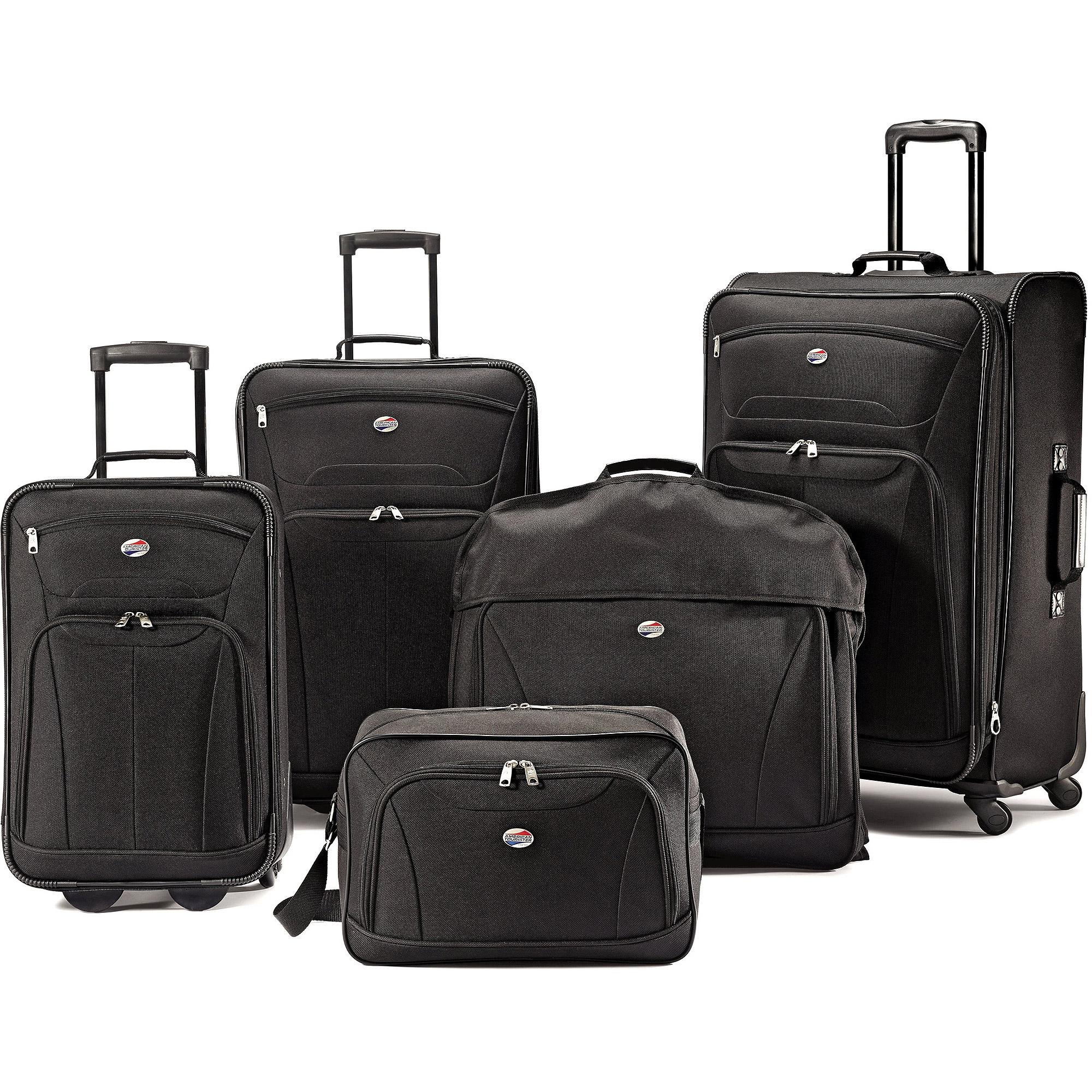 American Tourister 5-Piece Luggage Set, Black. Travel Luggage Includes Garment Bags. Luggage Sets SALE !! Heavy Duty Carry On Bag and Rolling Suitcase Set. Ideal For Travel.
