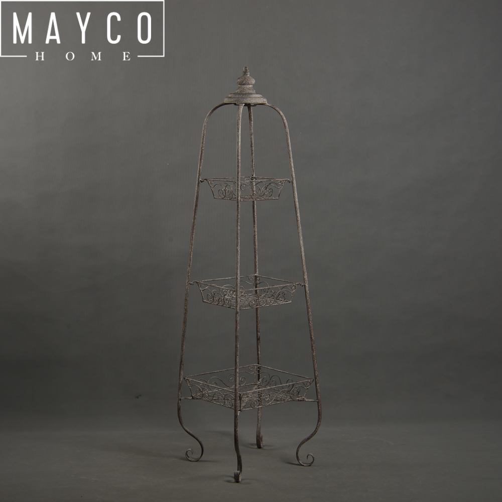 Mayco Plant Stand Shabby Chic Metal Flower Display Stand for Garden