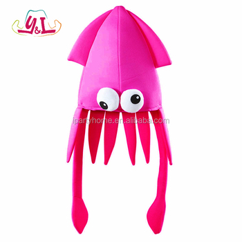 Oversized Novelty Pink Squid Hat Party For Funny Festival Fancy Dress Accessories Squid Tentacle