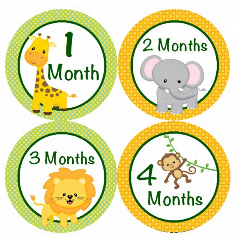 It's just a picture of Free Printable Baby Month Stickers intended for cute