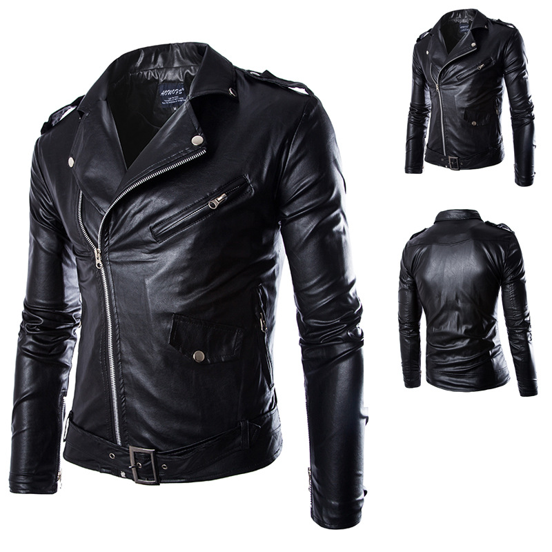 32f02dfb21b4 2019 WHOHOLL Newest British Motorcycle Leather Jacket Men Classic ...
