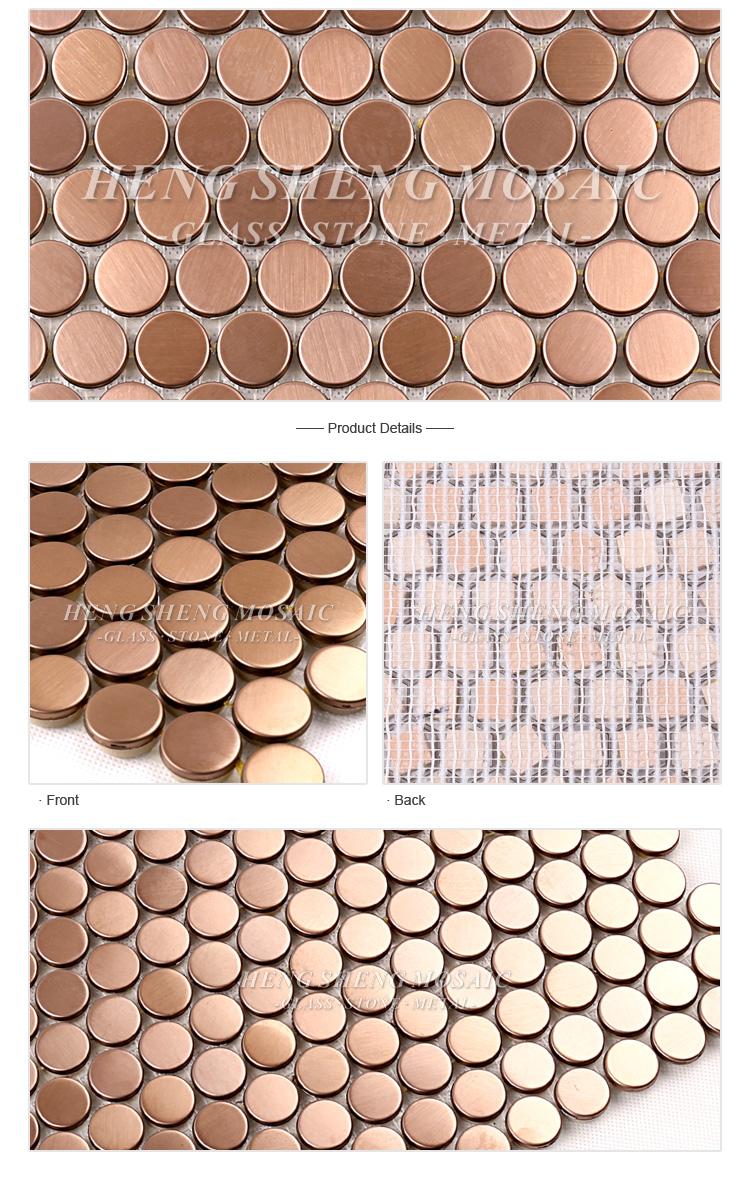 Sa07 Gold Edelstahl Gebürstet 3d Wand Runde Penny Mosaik Muster ...