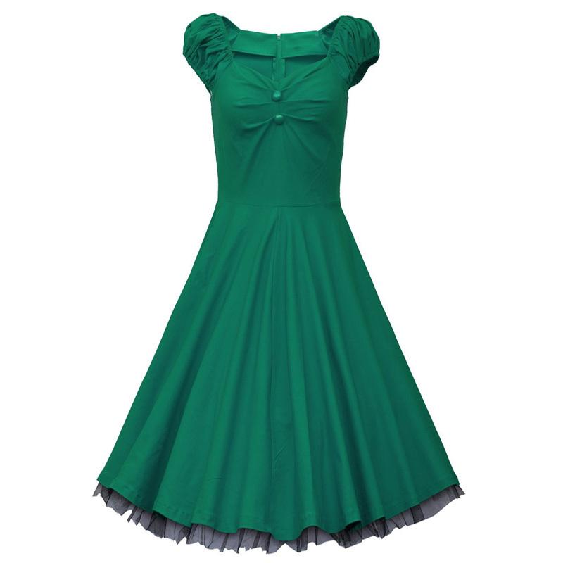 f2a11d6bdd21 Dark Blue Garment Womens Summer 1950s Vintage Retro Casual Dress Ladies  Polka Dot Elegant Tunic Evening Party Swing Dresses
