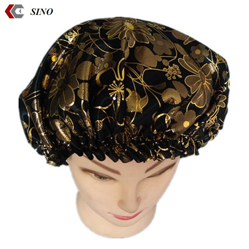embroidery satin bonnet hat spandex sleeping cap gilding woman turban dome cap