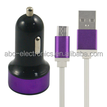 high quality new alloy shell 3.1a 2-port usb universal car charger with cable