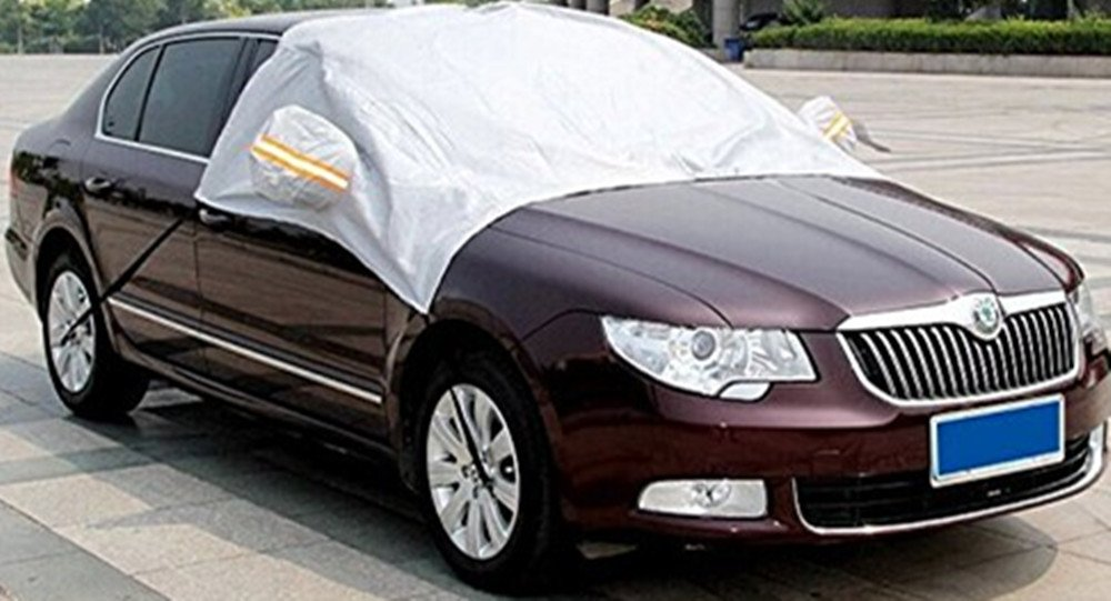 """XYZCTEM Extra Large Windshield Snow Ice Cover - Protect Your Car / Truck / SUV During Winter Season - Easy to Hook on Wheels and Windproof, Van with 80""""x 65"""" (XXXL)"""