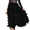 2017 Guangzhou Supplier Latest Model High Quality Ladies Summer Flounce Casual Pleated Layered Black Flared Long Skirt