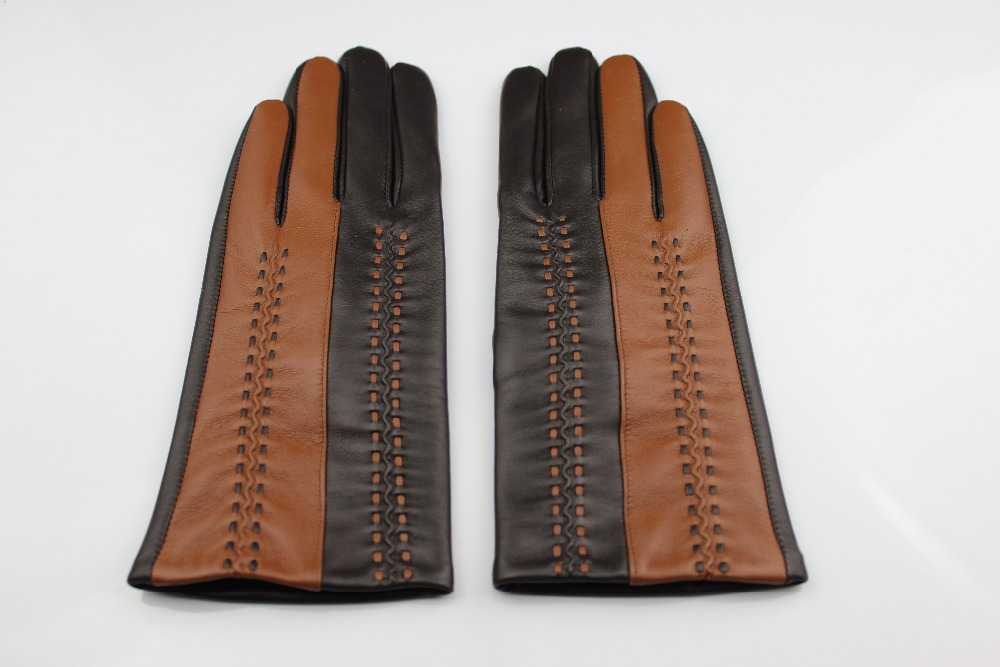 Ziper design leather gloves which is popular in China