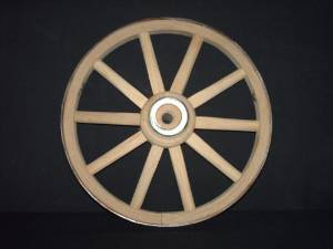 Functional - Wood Wagon Wheel - Small Cart Wooden Wagon Wheels - 10 inch with 10 staggard spokes and 1/2 inch steel sleeve axle hole