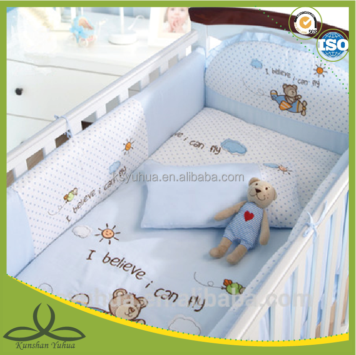 blue color airplane print bedding baby bedding set