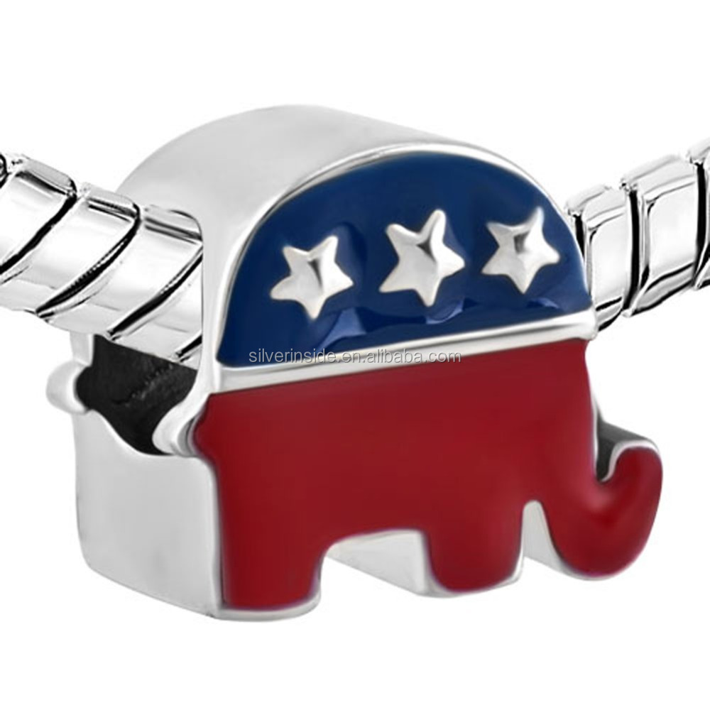 metal charms For Jewelry Making Silver Plated The Elephant American Party Usa Flag Beads Charms Bracelets
