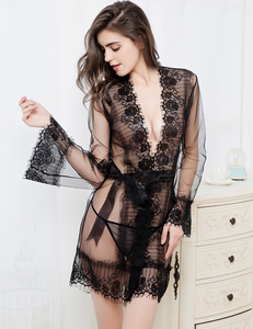 Factory Wholesale Sheer Lace Hot Sexy Transparent Ladies Nighties