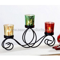 made in black tealight metal candle holder with 3 colorful glass cups