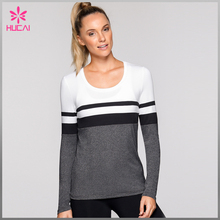 OEM factory fashion striped long sleeve wholesale custom t shirt for women