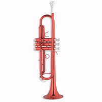 Stainless Steel Valves Red and Red Trumpets, FTR-100RD Colorful Brass Body Trumpet