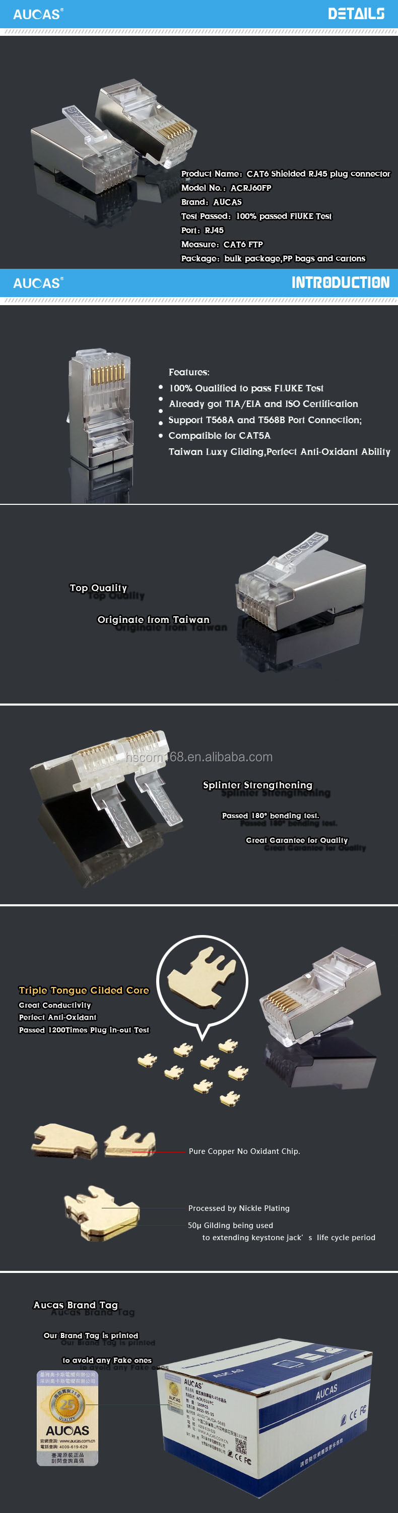 Application In Communication Cables Cat6 Ftp Rj45 Plug Connector Wiring