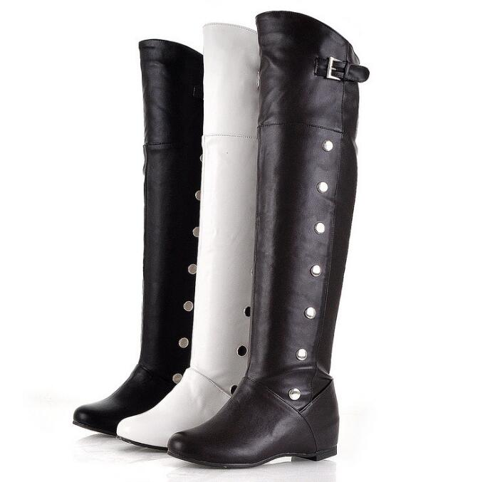 sh10335a PU leather boots shoes black color over the knee boots for women