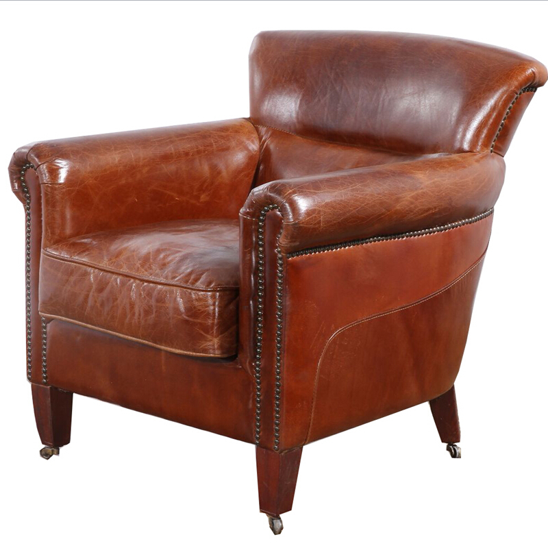 deluxe club hennessy brown leather armchair with wheels