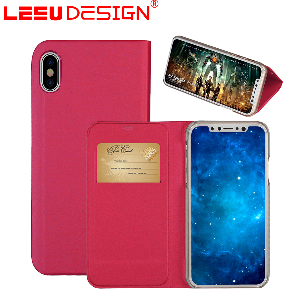 LEEU DESIGN Factory price crazy horse leather one card holder case for iphone x