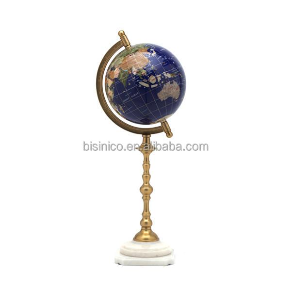 luxury decorative marble globe with bronze stand elegant marble floor standing globe for home decor - Decorative Globe