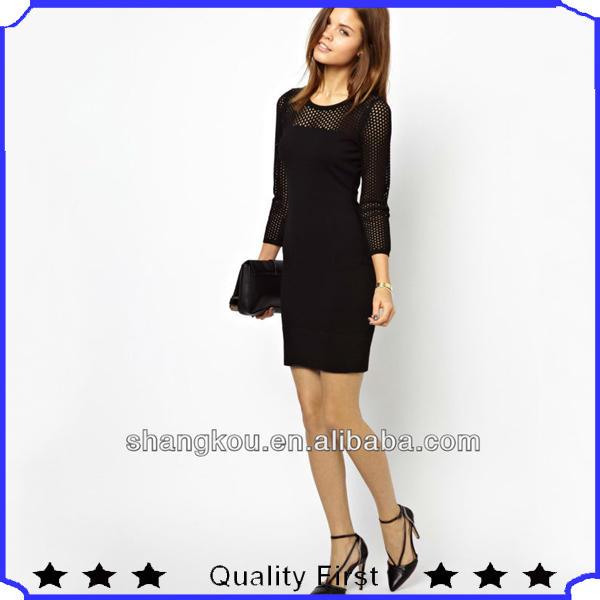 OEM manufactories fashion designer women Dress with Knitted Mesh Panel evening dress shkz l72