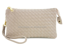 Makeup case Zippered Closure for Women Woven Leather Wristlet Clutch