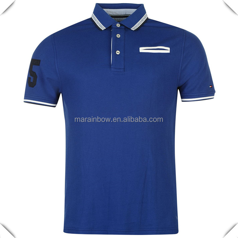 Men's Golfing Pique Polo shirt custom with colour contrasting trims and a faux pocket and OEM logo embroidered