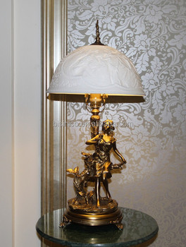 European style table lamp with enamel porcelain lampshadefantastic european style table lamp with enamel porcelain lampshade fantastic girl figurine statue lamp bronze aloadofball Choice Image