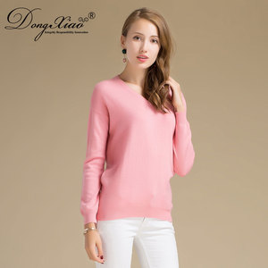 New Arrival Competitive Price V Neck Flat Knit Women Pink Cashmere Sweater