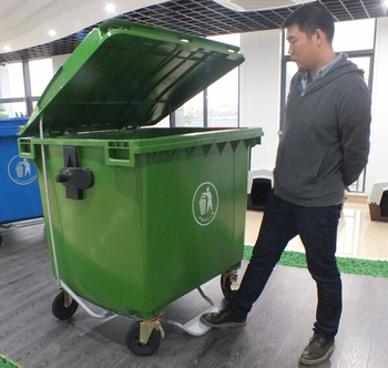 Outdoor Wheeled Square 1100l Large Plastic Dustbin Garbage