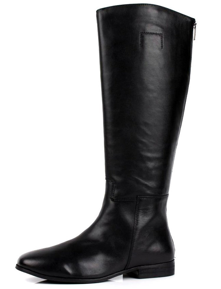 45047fd5780d Large Size Mens Knee High Boots Fashion Black Genuine Leather ...