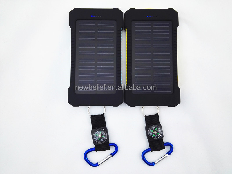 Dual usb portable 5v 2a solar power bank waterproof back up solar power charger 2019 20000 solar power bank