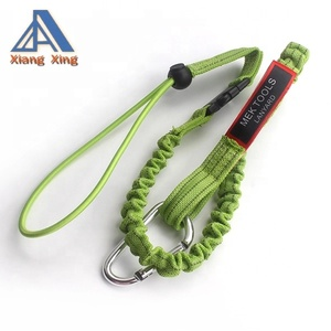 Single Carabiner and Adjustable Loop End, Standard Length, Black/green orange retractable tool lanyard